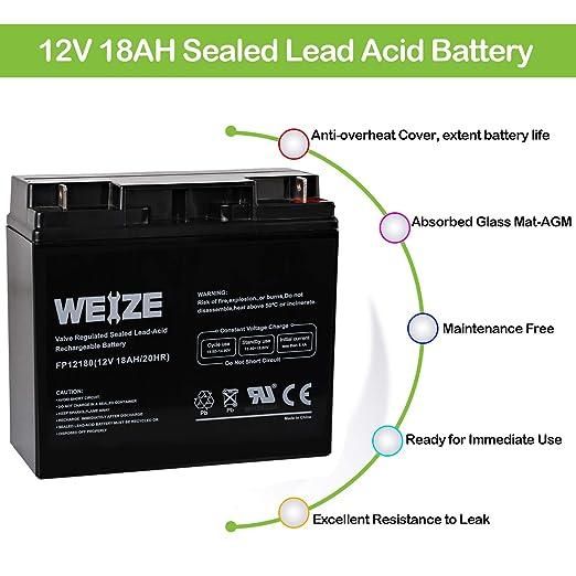 Amazon.com: Batería de alarma para el hogar, 12 V, 18 Ah ...