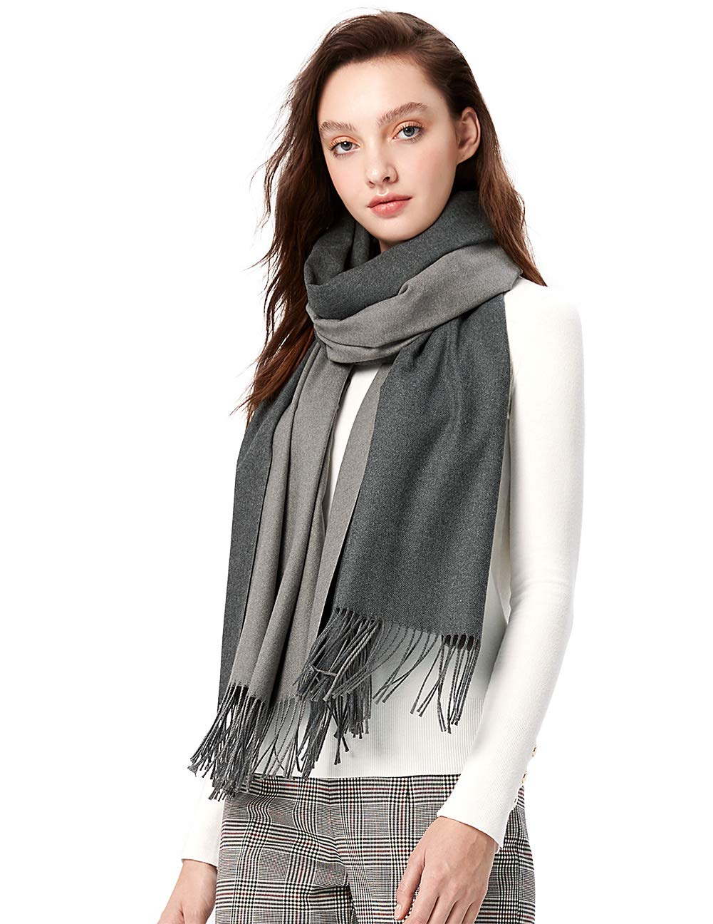 MaaMgci Womens Mens Two Tone Scarf Cashmere Feel Pashmina Shawls Wraps Blanket Scarf Winter Stole, Light Grey and Grey