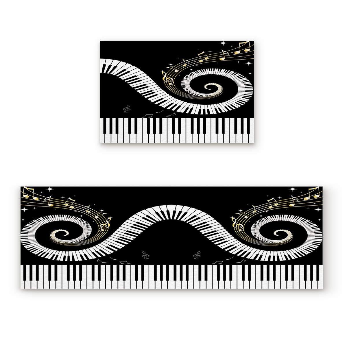 Musical Note5fiy6158 23.6x35.4In+23.6x70.9In Findamy Non-Slip Indoor Door Mat Entrance Rug Rectangle Absorbent Moisture Floor Carpet for White and Red Stripe Pattern Doormat 23.6x35.4In+23.6x70.9In