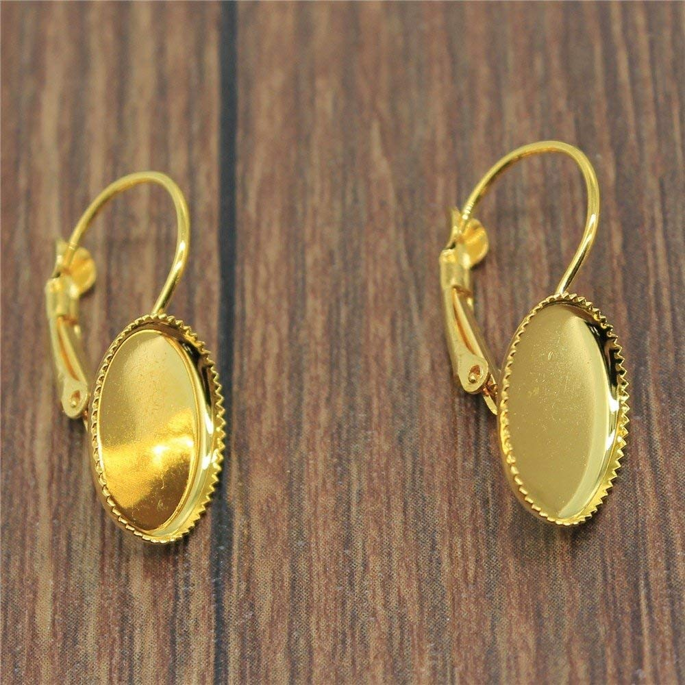 Taliyah 10 Pieces French Lever Back Hoop Earrings for Girls Cabochon Blank
