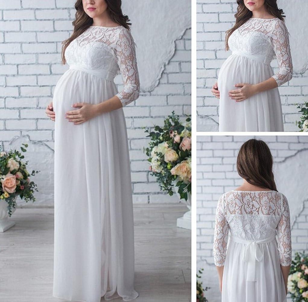 Huateng Vestido Largo De Encaje De Gasa De Las Mujeres Embarazadas Vestido Elegante De Cóctel De Fiesta Elegante