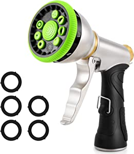 Water Hose Nozzle Spray Nozzle, Heavy Duty Metal Garden Hose Nozzle High Pressure Nozzle with 9 Adjustable Patterns, Perfect for Watering Plants, Washing Cars and Showering Pets