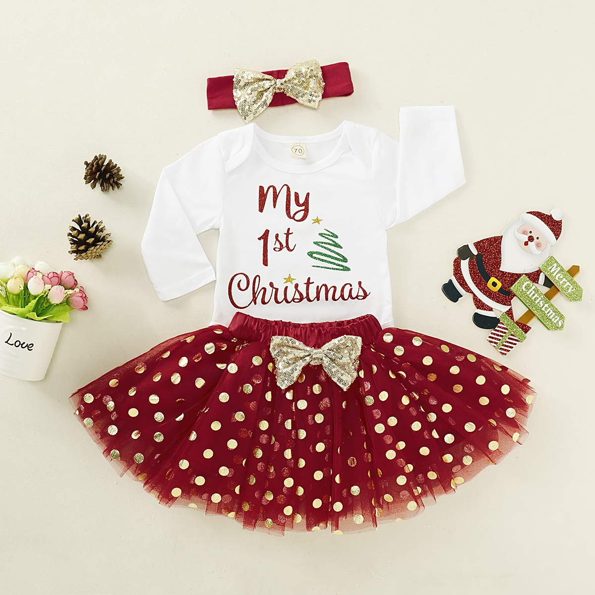 My First Christmas Outfit Toddler Baby Girls Clothes Rompers Red Gird Skirt Outfit