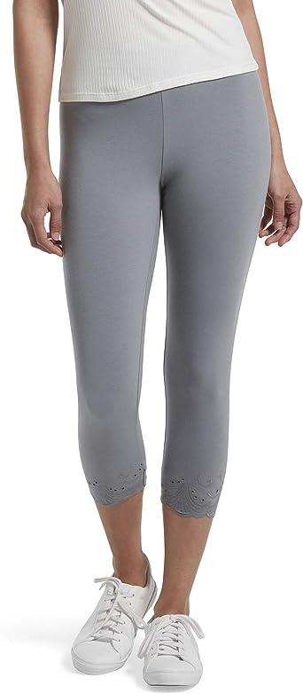 HUE - Mallas Capri de algodón para Mujer, Gris - Large: Amazon.es ...