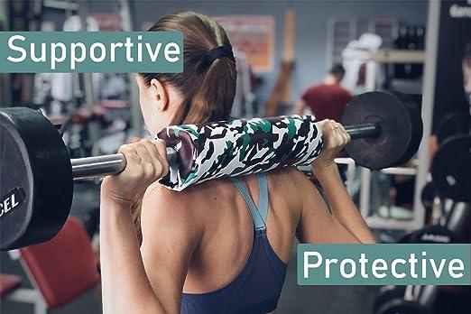 Roometix - Almohadilla para Mancuernas (protección de Hombros y Cuello con Almohadilla Protectora), Reduce Lesiones y Mejora la Postura, Verde Camuflaje: ...