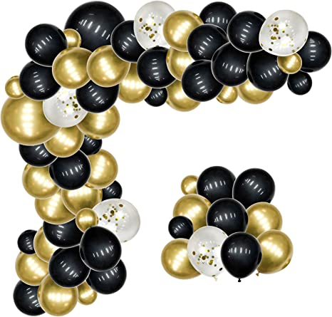Black and Gold Balloons Garland Arch kit 108 Pack, EXV New Years Eve Party Decorations with 18Inch Big Black Gold Latex Balloons for Birthday Wedding Anniversary Graduation Party Decor