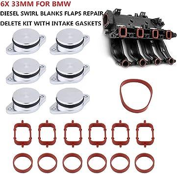 6x 33mm Diesel Swirl Flap Blanks Bungs Manifold Gaskets Flaps Repair Fit For BMW