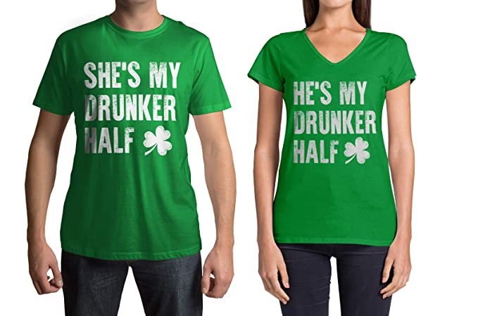 2966d39b7 Amazon.com: Threadrock My Drunker Half St. Patrick's Day Men's & Women's  Matching Couples T-Shirt Set: Clothing