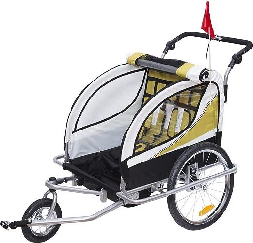 HOMCOM Remolque para Bicicleta tipo Carro con Barra de Paseo para Niños de 2 Plazas con Rueda Delantera Giratoria 360° y Asiento Acolchado Carga Máx. ...
