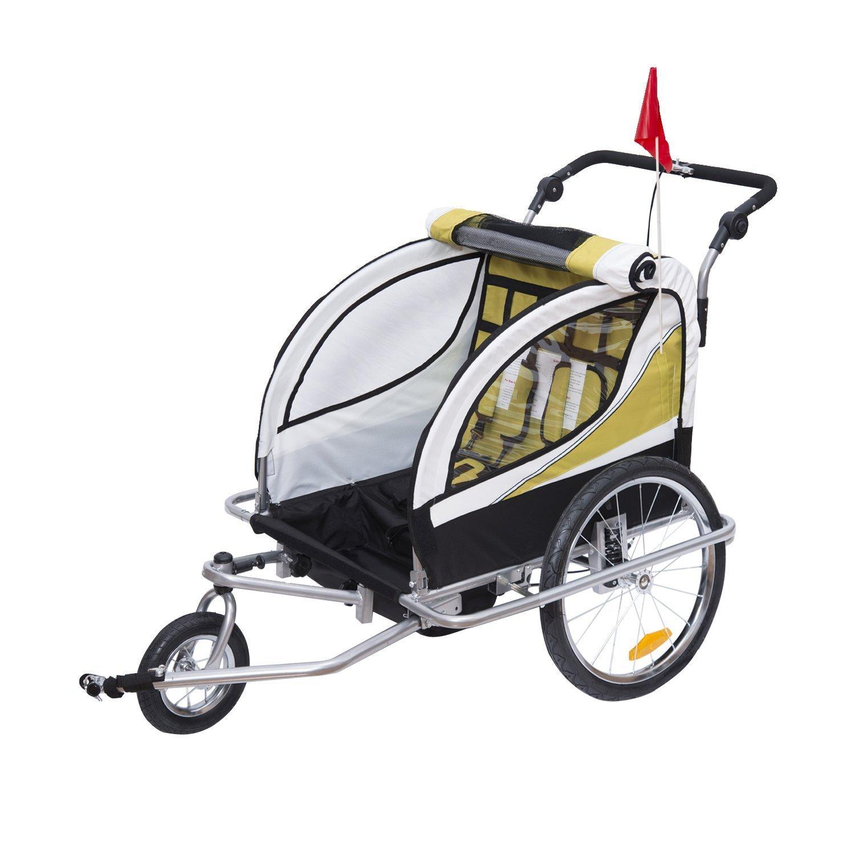 HOMCOM Remolque para Bicicleta tipo Carro con Barra de Paseo para Ni/ños de 2 Plazas con Rueda Delantera Giratoria 360/° y Asiento Acolchado Carga M/áx 40kg Amarillo