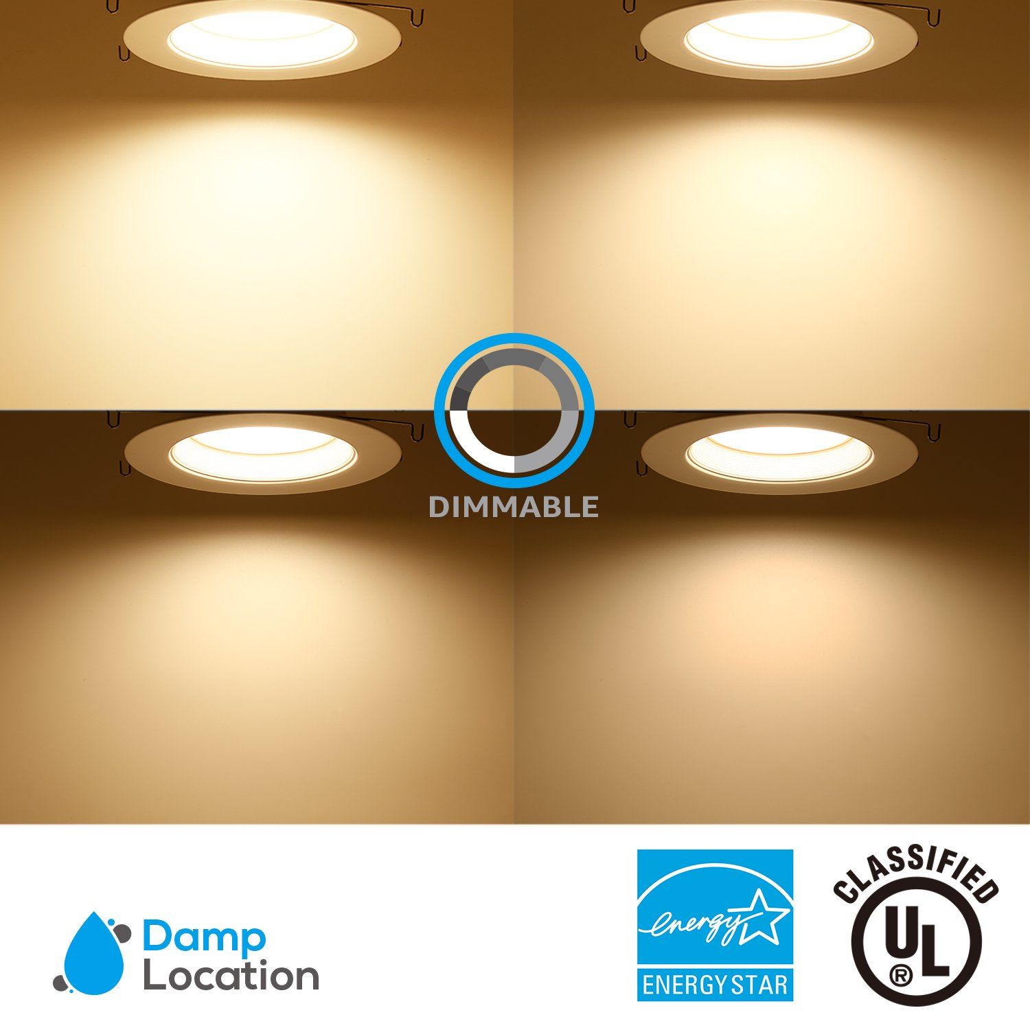 2700K Soft White LUTRON Caseta Dimmer Compatible TORCHSTAR 6inch Dimmable LED Retrofit Recessed Downlight LED Ceiling Light 120W Equiv. ENERGY STAR /& UL Listed 18W