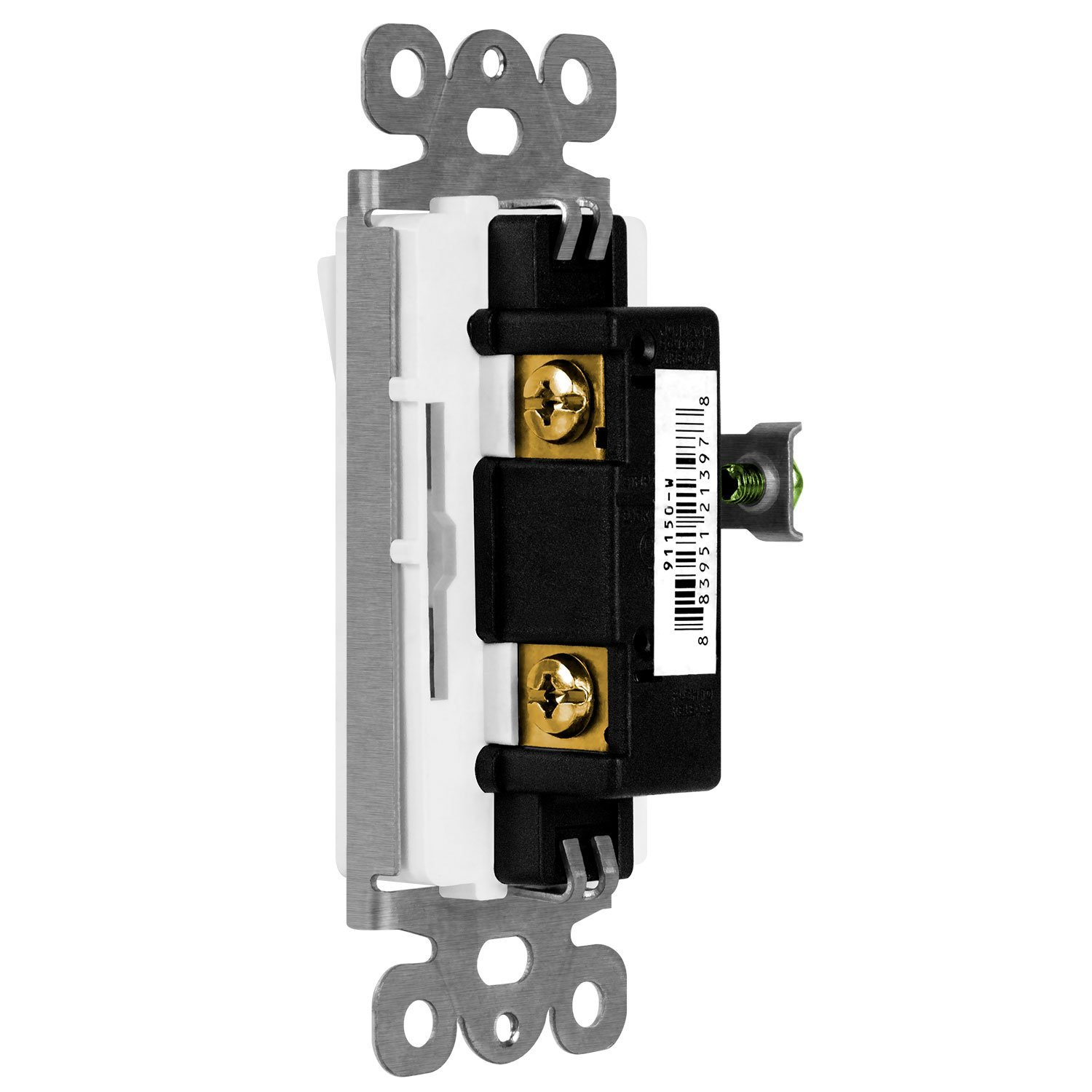 10 Pack 15A 120V//277V 3 Wire ENERLITES Decorator Paddle Rocker Light Switch UL Listed Grounding Screw Residential Grade 91150-W-10PCS Single Pole White