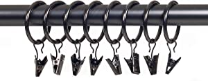 Lavish Home Curtain Rod Ring Clips,1.25-Inch, Pewter, Set of 8