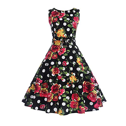 d11d108bc4 Women's 50S 60S Vintage Dresses Sleeveless Floral Print Swing Cocktail  Pleated Dresses for Summer.