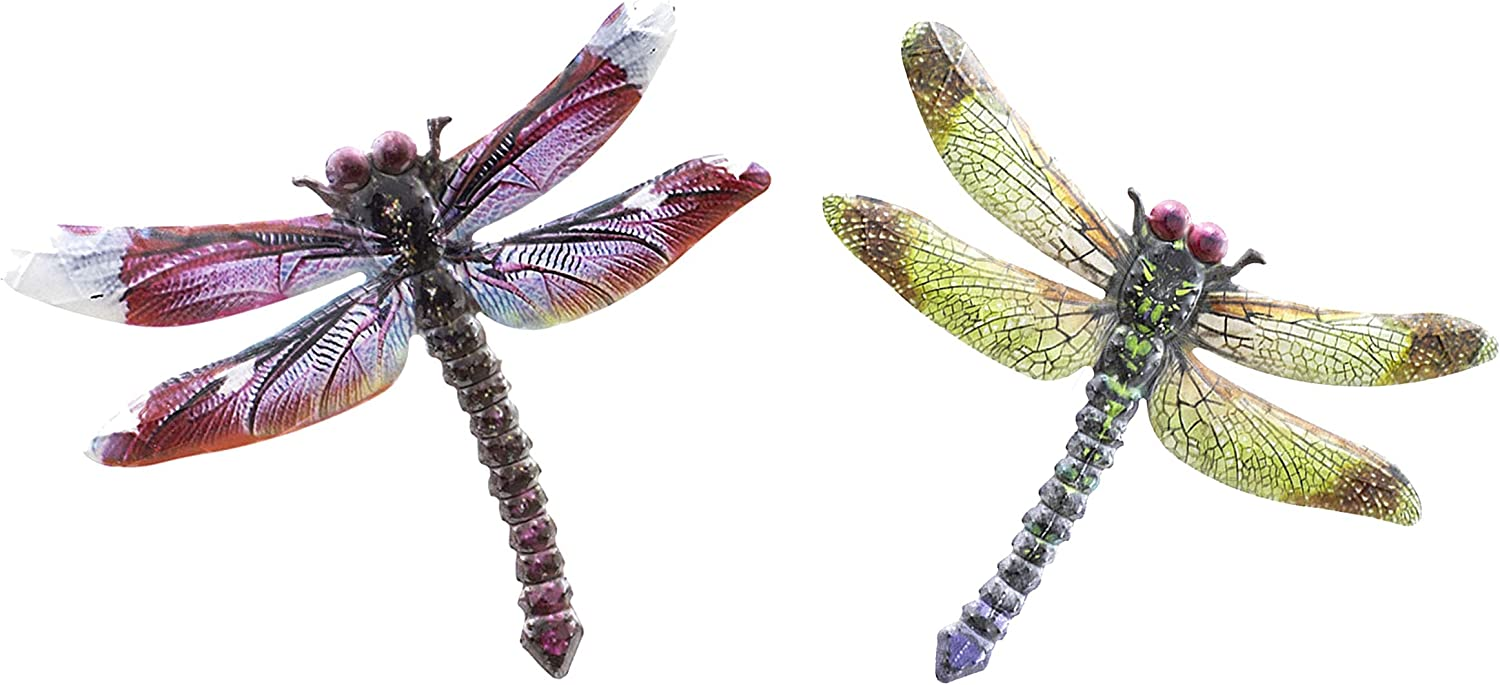 OSW Metal Dragonfly Wall Decor for Garden Outdoor Fence Yard Art, Set of 2, Outside Hanging Decorations for Living Room, Bedroom, Dining Room, Kitchen