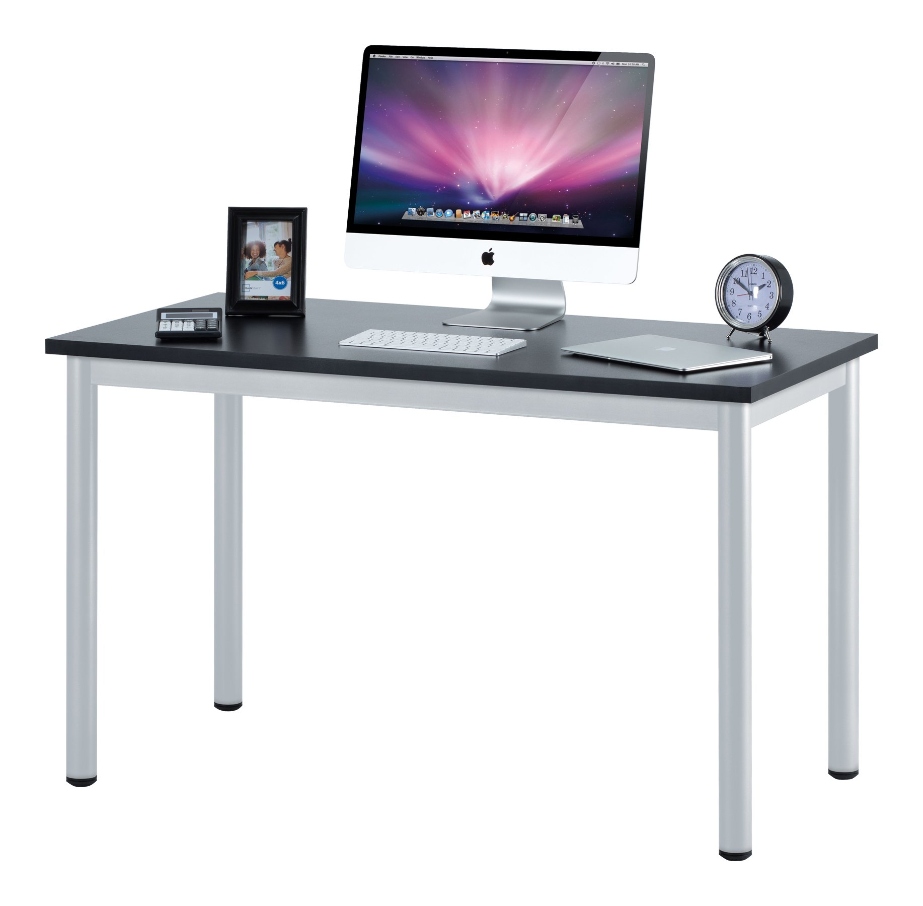 Fineboard 47'' Home Office Computer Desk Writing Table, Black/White