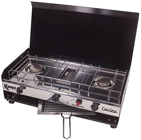 Cucina A Gas.Kampa Cucina Double Gas Hob And Grill Camping Cooking Stove Cooker