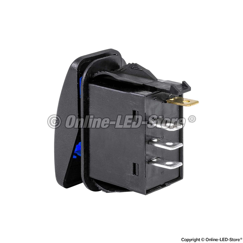 12v Dc 20a 4 Pin Led On Spdt Rocker Switch Blue Circuit Breaker Toggle Style Automotive
