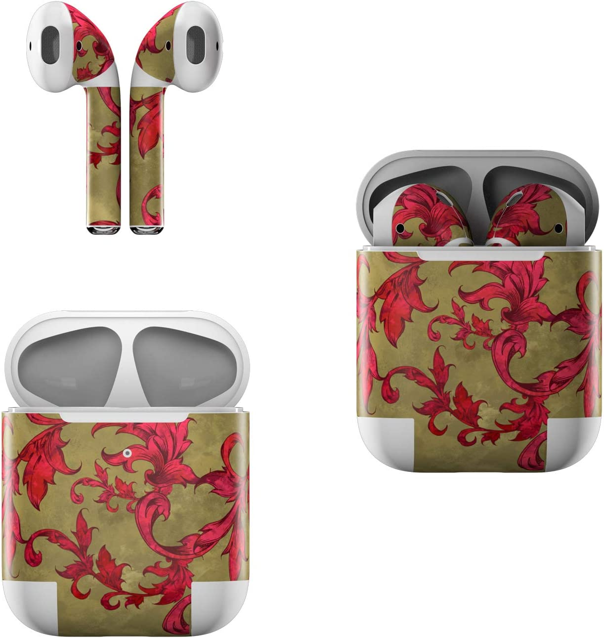 Skin Decals for Apple AirPods - Vintage Scarlet - Sticker Wrap Fits 1st and 2nd Generation