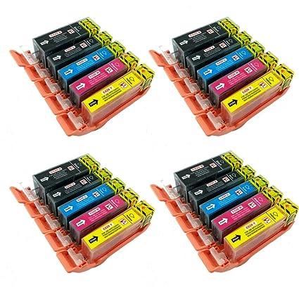PerfectPrint - 20 PGI-525 CLI-526 cartuchos de tinta compatibles ...