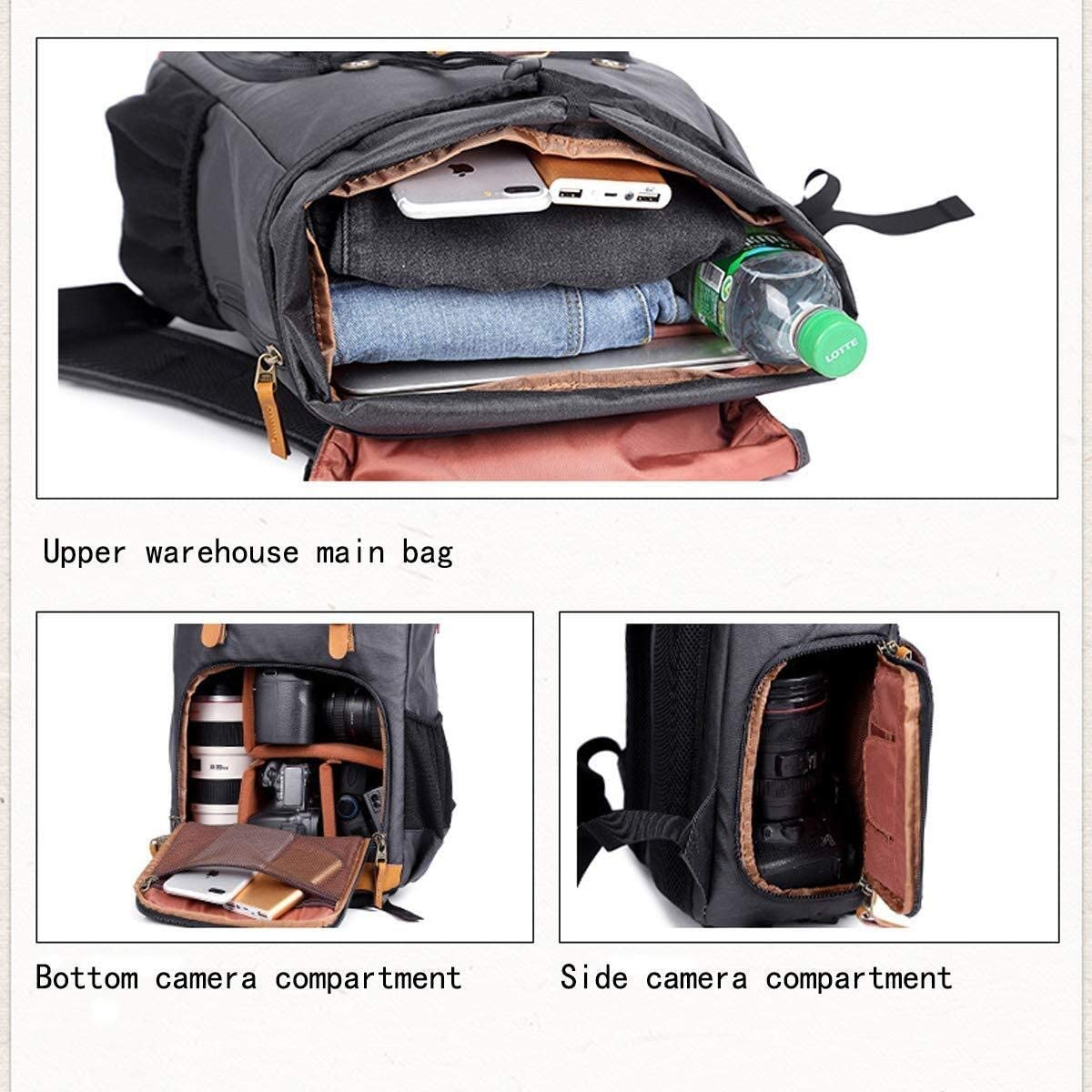 30 X 19 X 42 cm//Dark Blue A15 Waitousanqi Casual Canvas SLR Camera Backpack Large-Capacity Bag Outdoor Camera Backpack Laptop Tripod Lens and Accessories
