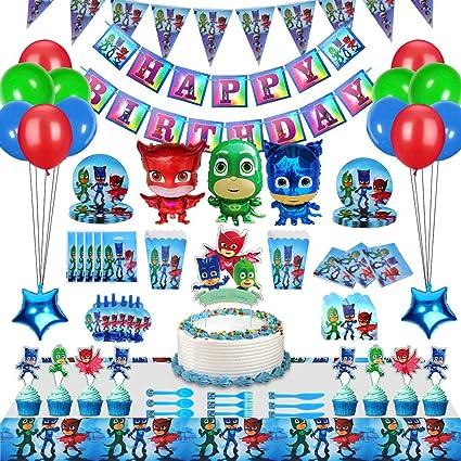 230 Piezas PJ Masks Fiesta Decoración Para 20 Invitados, Regalos De Fiesta De Cumpleaños De PJ Masks, Paquete Suministros Fiesta Que Incluye Vajilla, ...