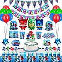 230 Pcs PJ Masks Party Decorations for 20 Guests, PJ Masks Birthday Party Favors, Party Supplies Pack Includes Tableware…