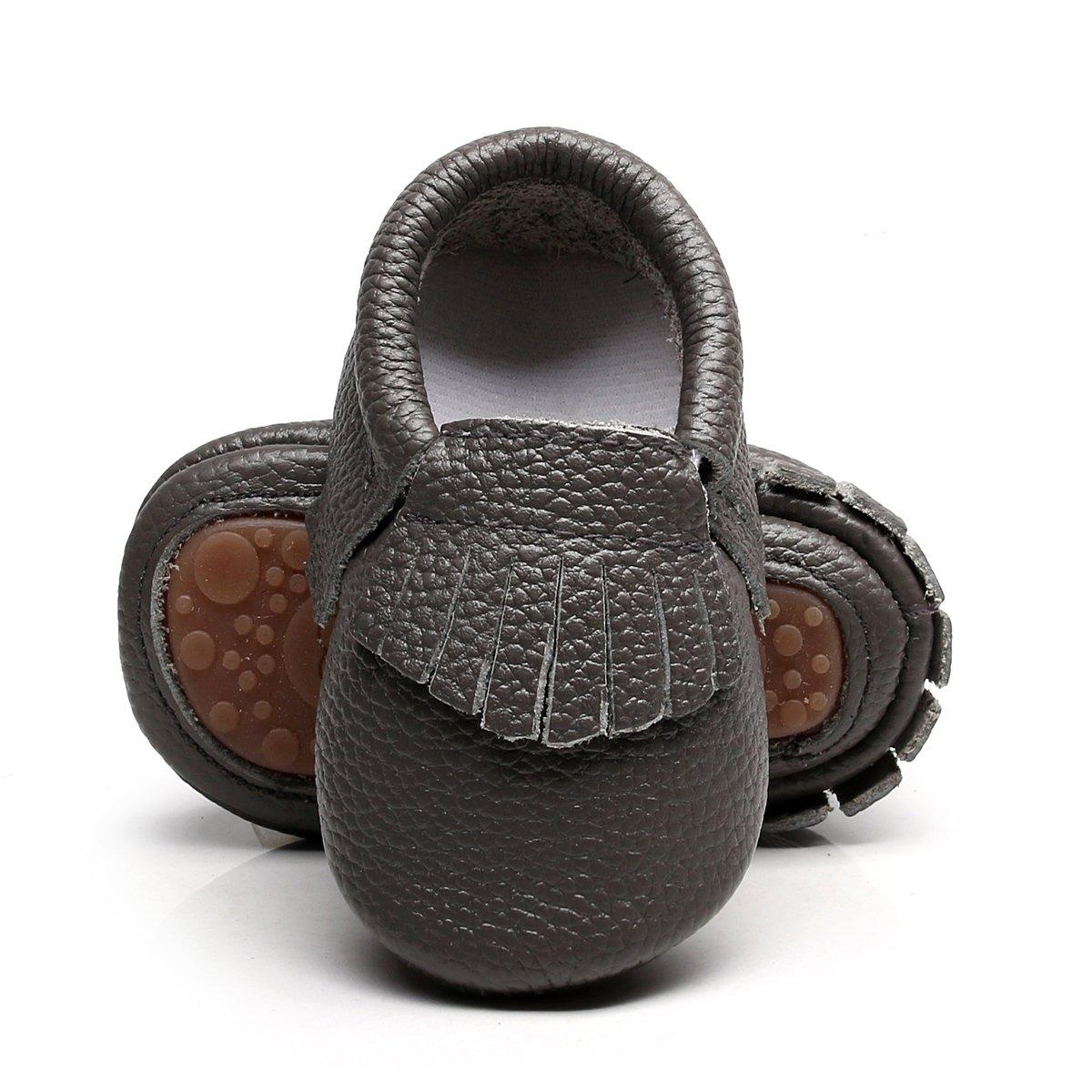 HONGTEYA Leather Baby Moccasins Hard Soled Tassel
