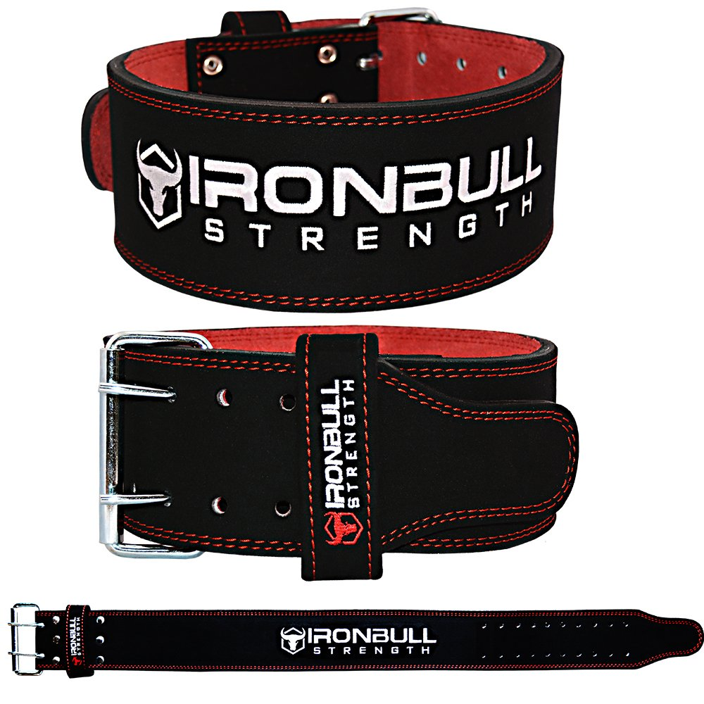 Iron Bull Strength Powerlifting Belt - 10mm Double Prong - 4-inch Wide - Heavy Duty for Extreme Weight Lifting Belt (Black/Red, XX-Large) by Iron Bull Strength (Image #3)