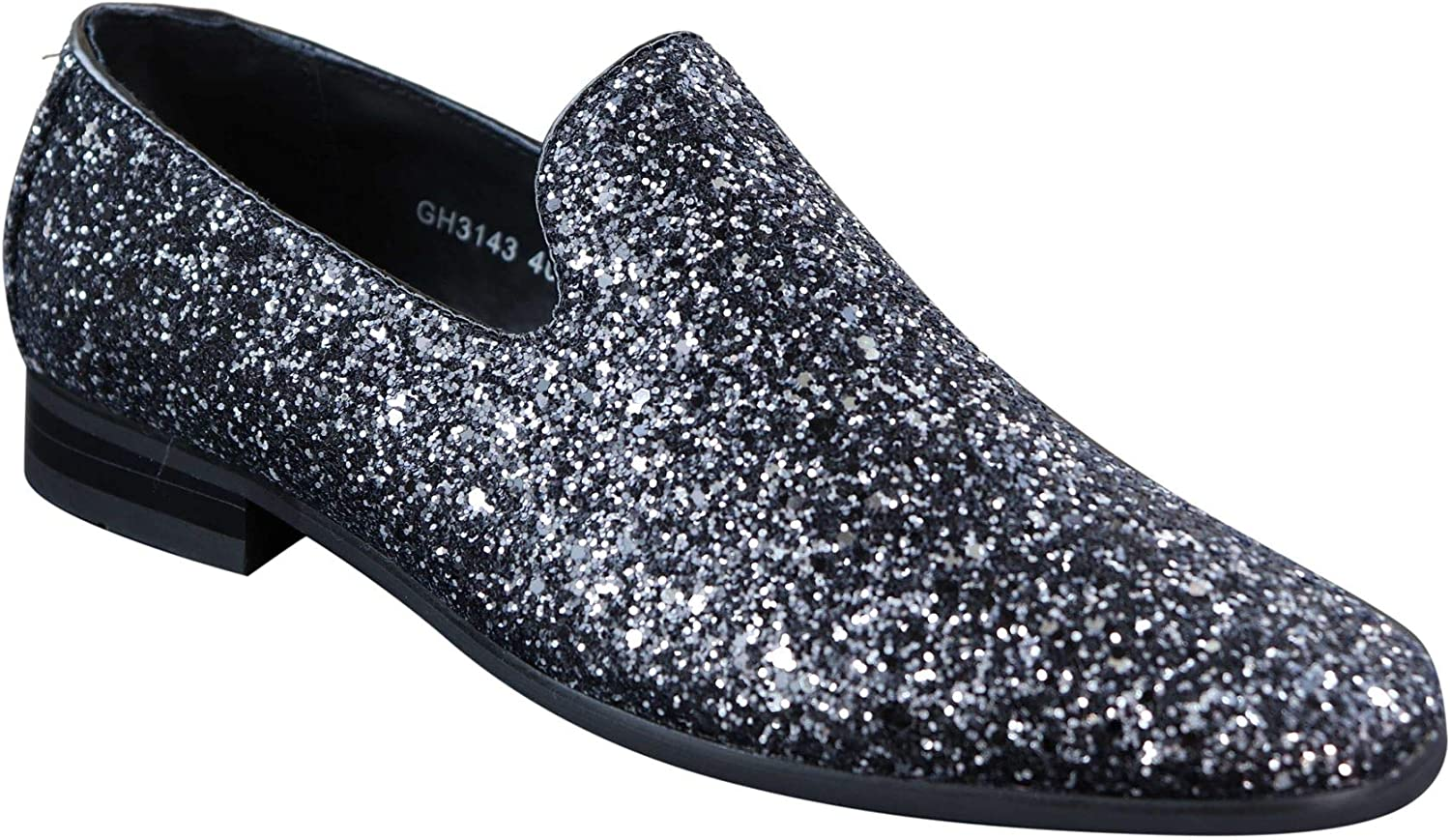 GALAX Mens Shiny Black Silver Red Slip On Glitter Shoes Party Smart Patent Leather Black