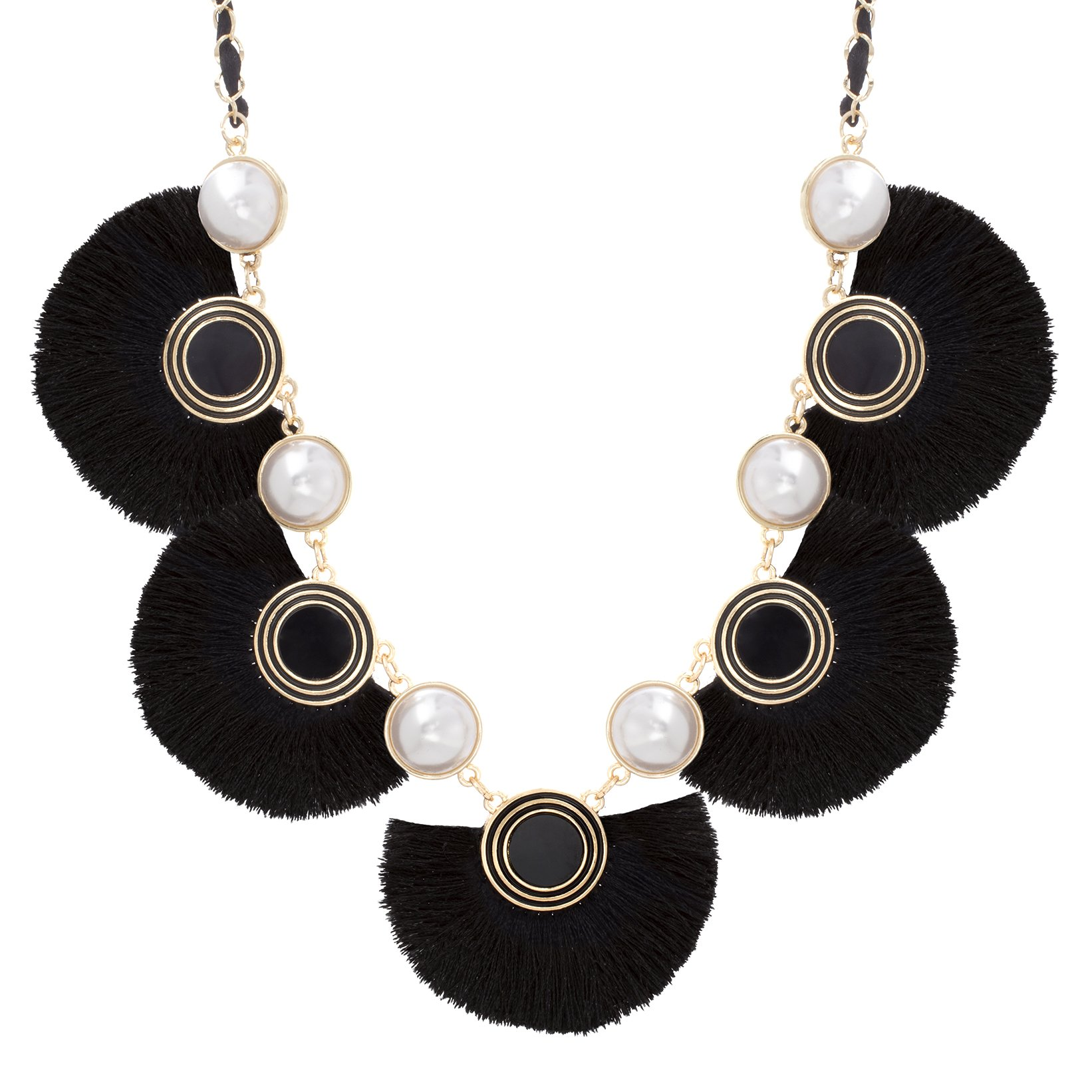 Catherine Malandrino Women's 19'' Simulated Pearl Black Fan Shaped Fringe and Curb Chain Yellow Gold-Tone Necklace