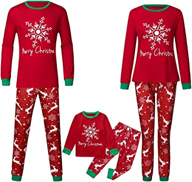 Christmas Family Matching Pajamas,Christmas Santa Claus Snowman Reindeer Cartoon Long Sleeve T-Shirt Top+Stripe Pants Family Pjs Sleepwear Outerwear for Daddy Mommy and Me