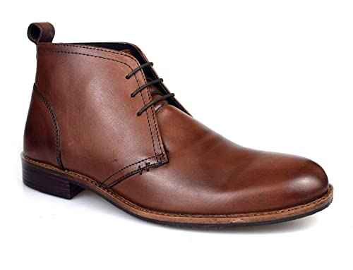 0129b2cd Catesby Mens Brown Leather Desert Boots MSC1714: Amazon.co.uk: Shoes ...
