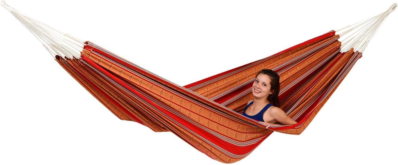 AMAZONAS Inka Red - Hamaca clásica hecha a mano en Colombia (210 x 140 cm, hasta 120 kg), diseño de rayas rojas