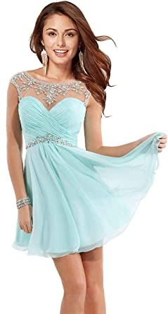 Womens Beaded Short Homecoming Dresses for Juniors Chiffon Prom Dresses 2018 Aqua Size 0