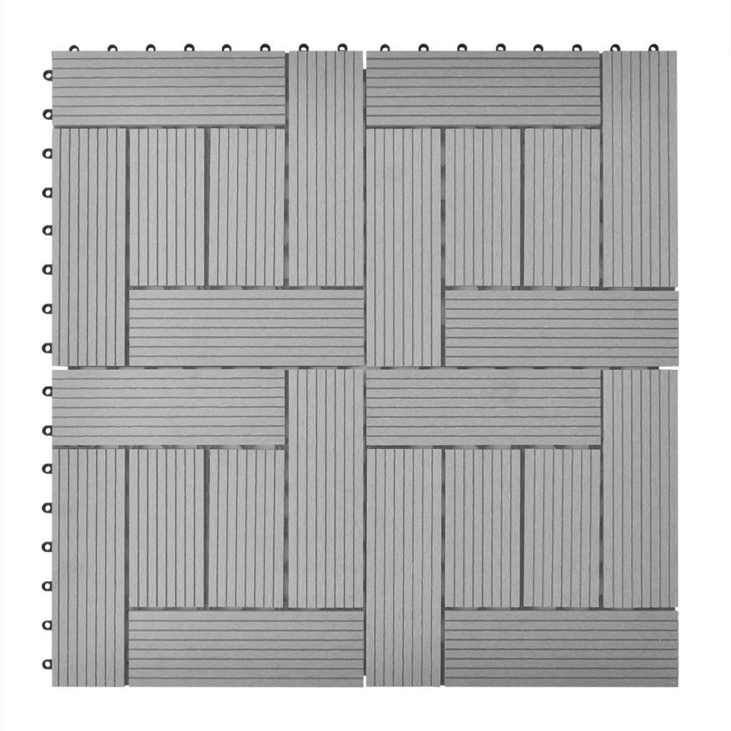 vidaXL 11 pcs WPC Decking Tiles Wood Plastic Composite Boards 11.8''x11.8'' Gray