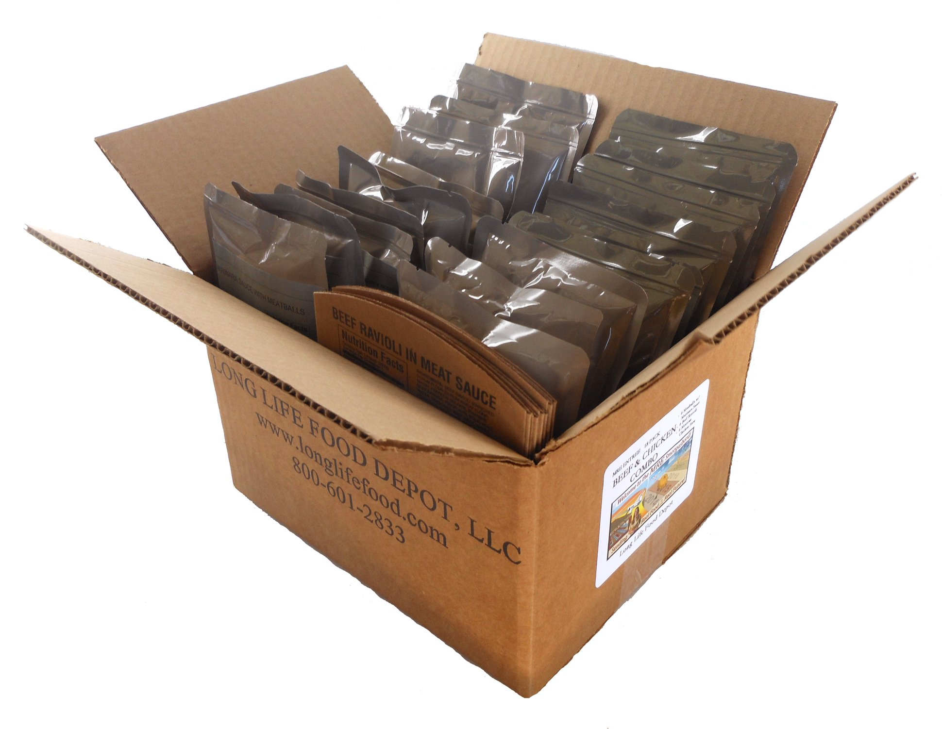 Long Life Food Depot MRE Beef & Chicken Entrees Combo - 18 Pack by Long Life Food Depot