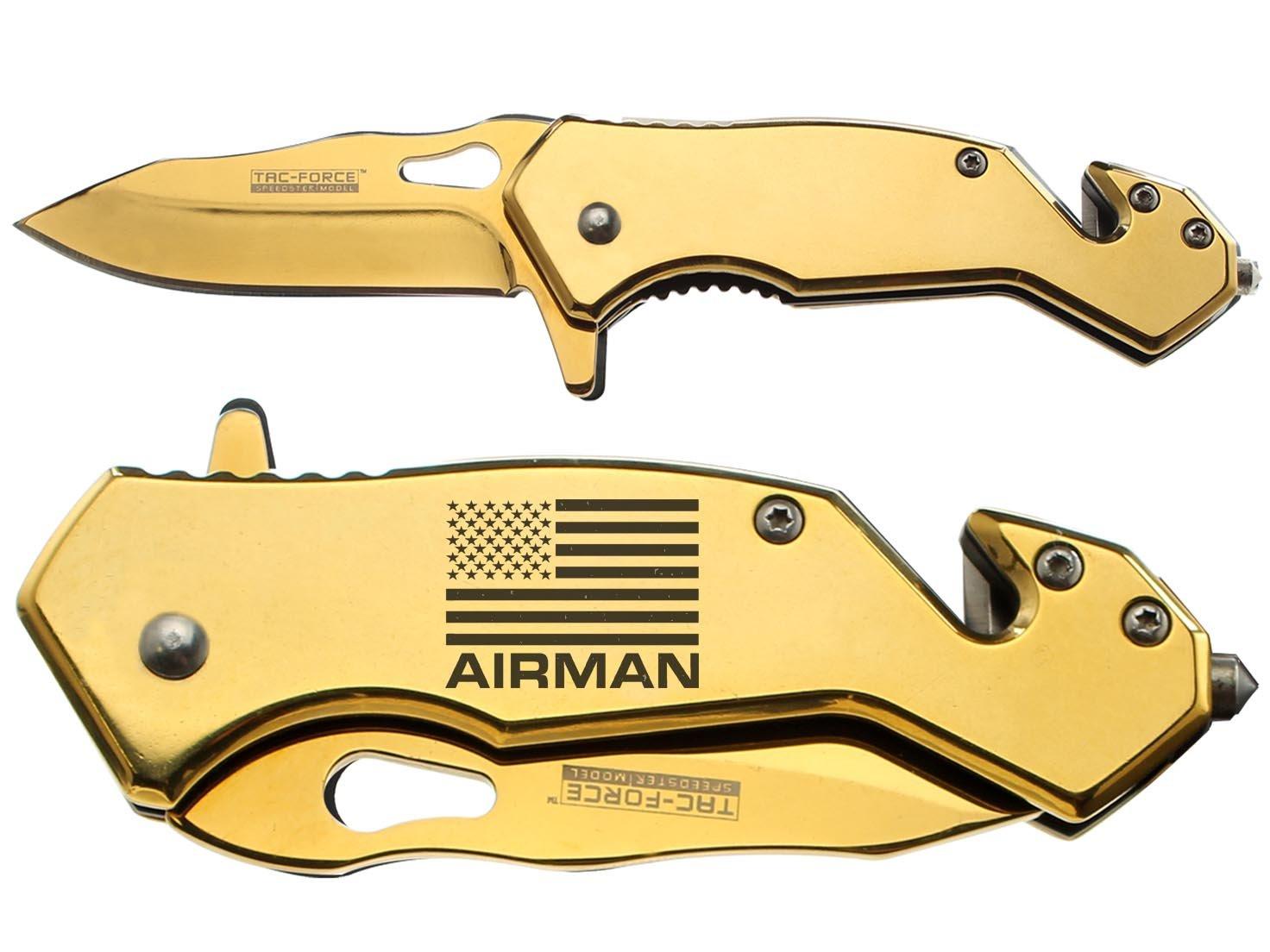 NDZ Performance Tac-Force 6.5'' Tactical Rescue Folding Knife Glass Breaker Seat-Belt Cutter 903GD Compact Gold Us Flag Air Man 001