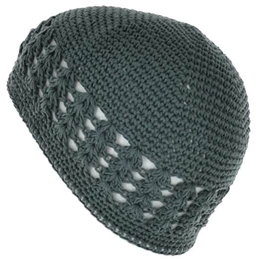 c598bb69520 100% Cotton KUFI Crochet Beanie Skull Cap Knit Hat Brand New (Dark Grey)