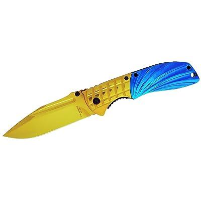Herbertz adultes en acier AISI 420, en titane de coupelles Métal Doré/metallicblau, clip ceinture couteau, multicolore, Taille unique