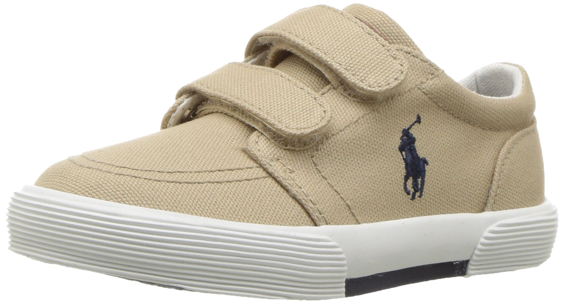 Polo Ralph Lauren Kids Boys' Faxon II Sneaker, Khaki Cotton, 10 M US Toddler