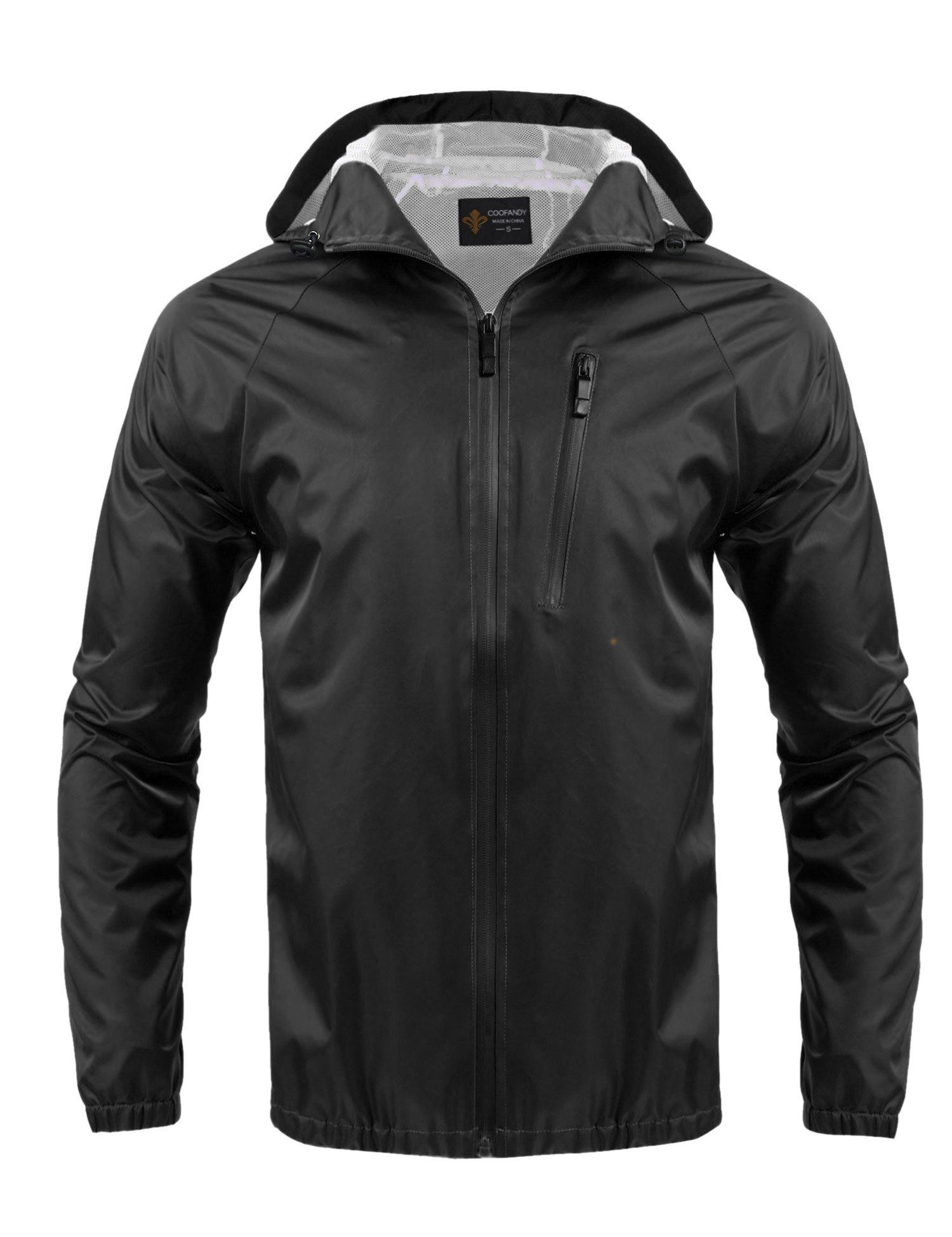 Jinidu Unisex Lightweight Hooded Running Cycling Rain Jacket Outdoor Raincoat (Small, Black2) by Jinidu