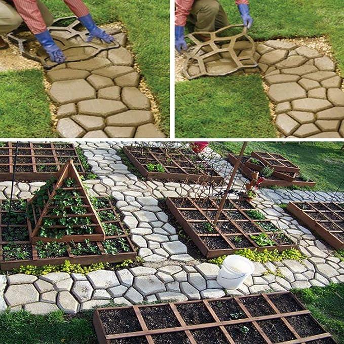 SKLLA Molde de Piedra para escalones de hormigón, Forma de pavimento Jardín de moldes de pavimento de hormigón Template60 X 50x 4 Cm: Amazon.es: Hogar