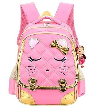 Amazon.com: Cat Face Waterproof Kids Backpack School Bookbag for ...