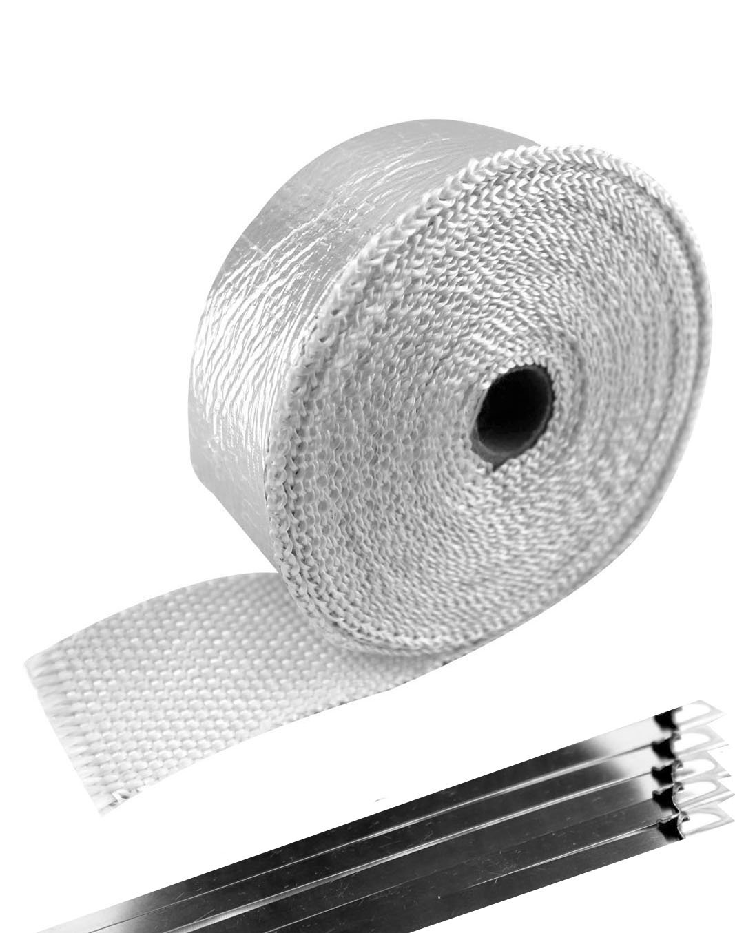 SWI Parts 2' x15ft Aluminized Fiberglass Exhaust Header Wrap Pipe with 5 Stainless Steel Zip Ties SW INDUSTRIAL