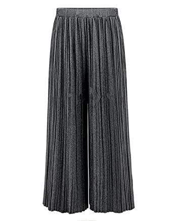 e24886a2f56f5 LA HAUTE Women Wide Leg Pants Autumn Winter Cotton Elastic Waist Plus Size  Pleated Trousers Casual Flared Palazzo Trousers  Amazon.co.uk  Clothing