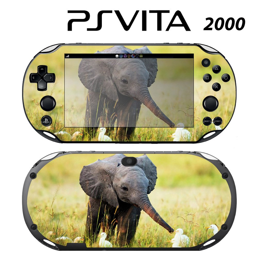 Decorative Video Game Skin Decal Cover Sticker for Sony PlayStation PS Vita Slim (PCH-2000) - Baby Elephant and Egrets