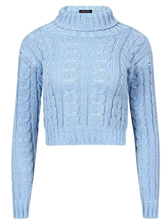 b61954ea5a4c8b Womens Polo Turtle Neck Cable Knit Jumper Long Sleeve Ladies Cropped Jumper  Top (Sky Blue Polo Turtle Neck Crop Jumper UK 8-10 Womens)  Amazon.co.uk   ...