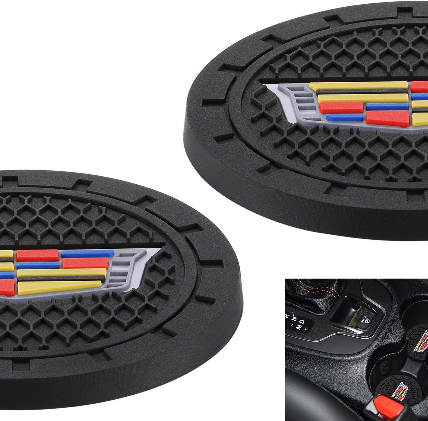 AOOOOP Car Interior Accessories for Cadillac Cup Holder Insert Coaster -  Silicone Anti Slip Cup Mat for Cadillac XT10 XT10 XT10 Escalade CT10 CTS XTS  CT10