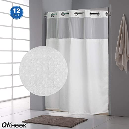 """2 Liners Lot Of Two 70x54/"""" Hookless Snap-In Fabric Shower Curtain Liners Beige"""